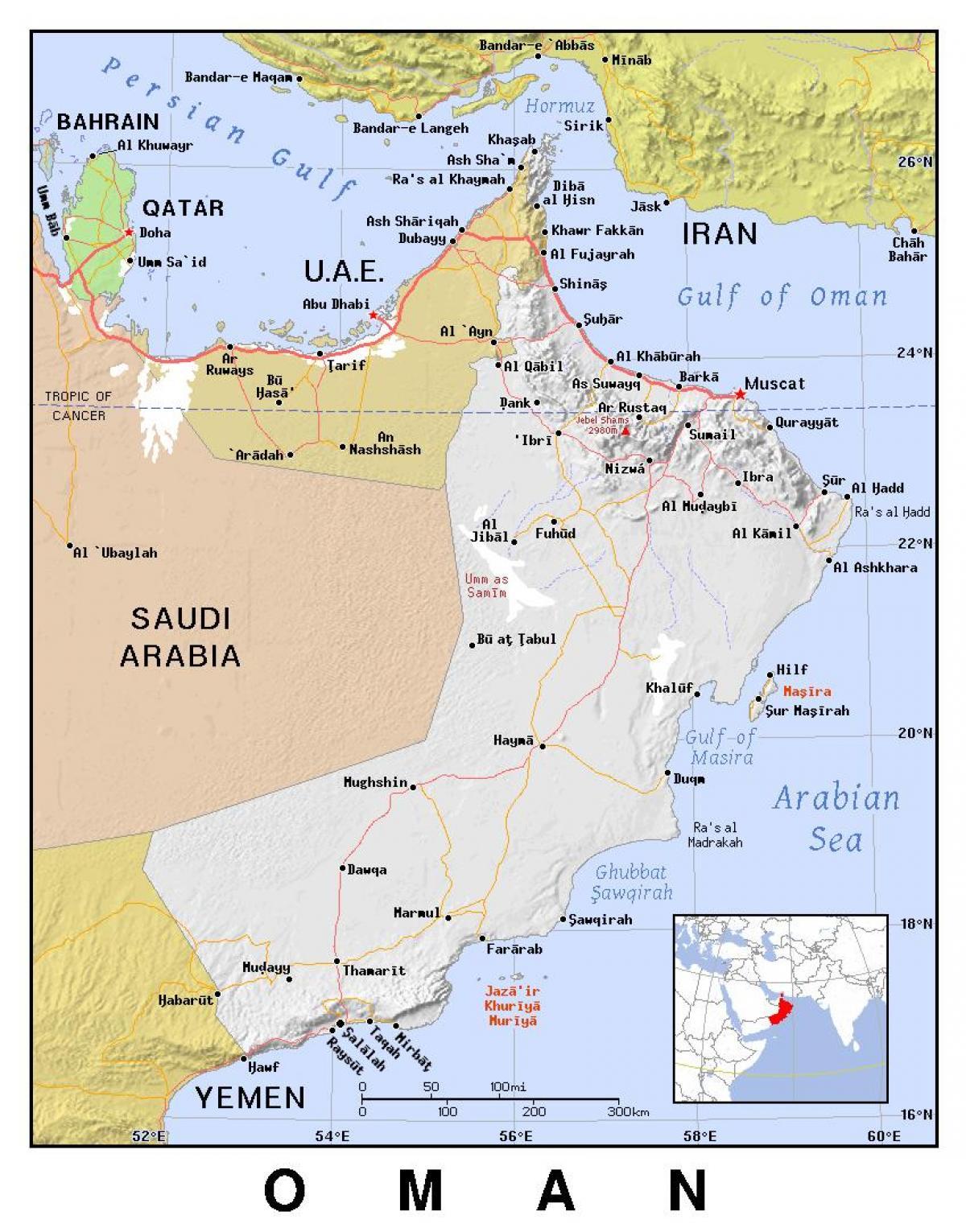 Oman Politische Landkarte Karte Von Oman Die Politischen West